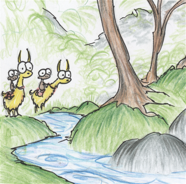 illustration of monkeys riding llamas near a creek