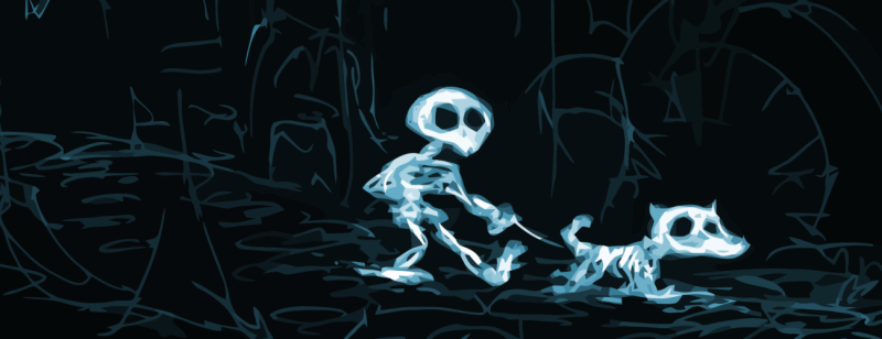 illustration of a skeleton walking his skeleton dog