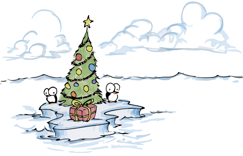 illustration of penguins and a christmas tree on an island