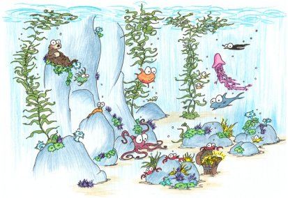 screen background: undersea kelp forest with sea otter, crabs, fish, jellyfish, sea slug, octopus, and other assorted creatures