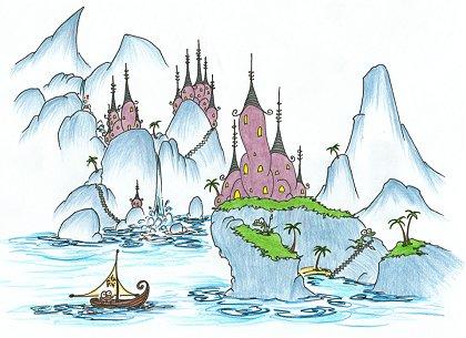 myspace background: a monkey sailing into a village of alligators