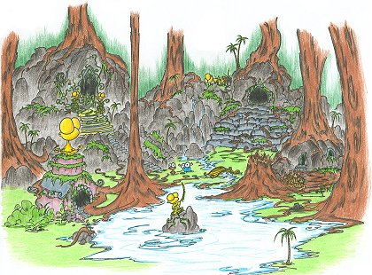 a screen background of a monkey and a blue bison discovering an ancient abandoned city overgrown in the rainforests of africa or maybe south america, and there are gold monkey statues too