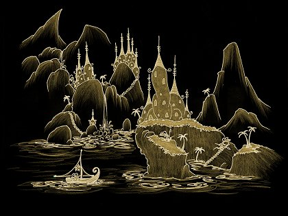 a screen background of a cartoon illustrated drawing of a monkey sailing a ship into a village of alligators at night