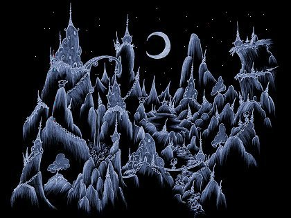 a screen background of a mountain village at night for myspace or facebook or xanga or your desktop