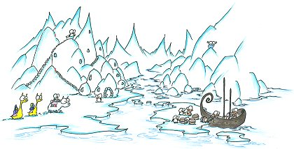 a screen background of an arctic village with monkeys and penguins exchanging goods in barrels