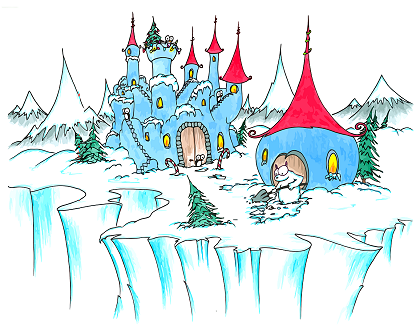 a Christmas holiday screen wallpaper of a snowy castle with a polar bear shoveling snow and penguins watching and a christmas tree
