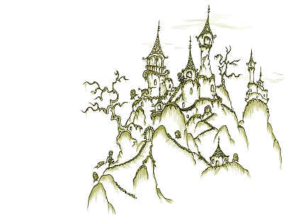 a screen background of a castle with skeletons and ghosts during the day