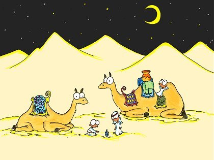a hanukkah holiday screen wallpaper of some monkeys playing with a dreidel in the desert with their camels on one of the nights of hanukkah