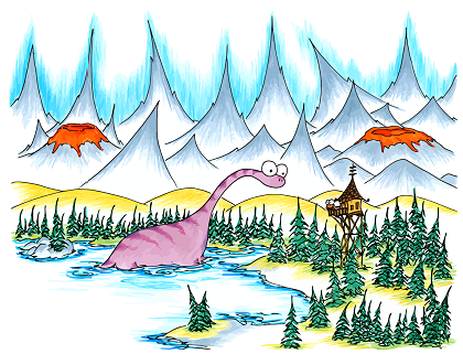 screen wallpaper with a dinosaur emerging from a lake in front of a monkey in a watchtower with volcanoes in the mountains behind them
