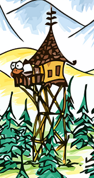 a vectorized drawing of a monkey in a watchtower in a forest