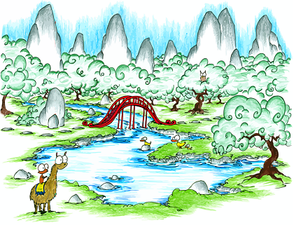 a a screen background with a monkey riding a llama at a lake with ducks and an owl and a large red bridge