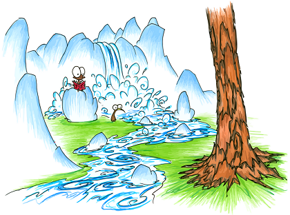 desktop wallpaper with a kiwi walking past a monkey reading a book in front of a waterfall