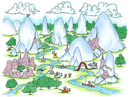 an illustration of a mountainous village of monkeys, llamas, tigers, polar bears, boats, bridges, and a blue bison