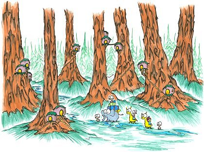 a vector image of a drawing of monkeys riding llamas and elephants through a giant redwood forest with some odd houses up on the trunks of the trees