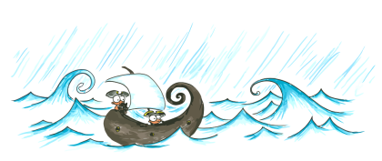 a vector image of a drawing of pirate monkeys sailing a pirate ship through a rain storm for use as a screen background for your computer