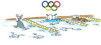 a drawing of 2008 olympics swimming with a hippo, sea otter, and a mouse riding on a shark fin for use as a screen background for your computer