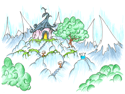 an illustration of monkeys and a monkey house high atop some mountains, and a blue bison