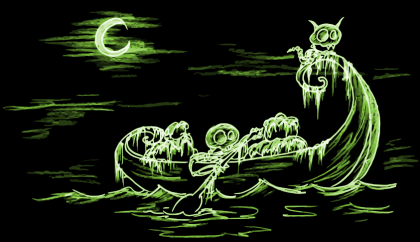 a skeleton and a skeleton cat in a canoe at night screen backgound for halloween
