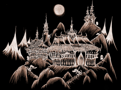 a drawing of spooky halloween castles high in the mountains with alligator skeletons and ghosts slinking around them on Halloween night