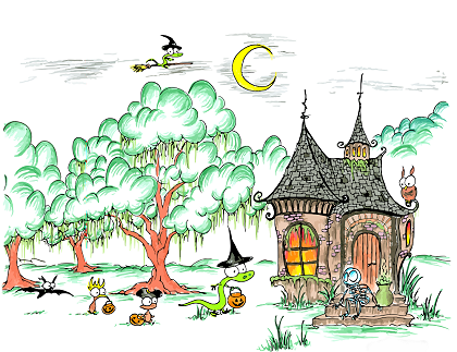 an illustration of cartoon skeleton, bat, monkey, and two witch alligators trick or treating on Halloween night