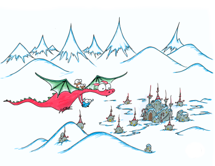 a christmas dragon flying some monkeys and a bison to the north pole to see santa