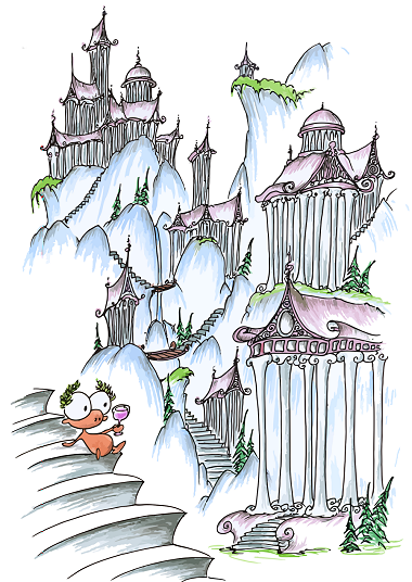 a cartoon drawing of a monkey in a greek landscape with pillars and stuff