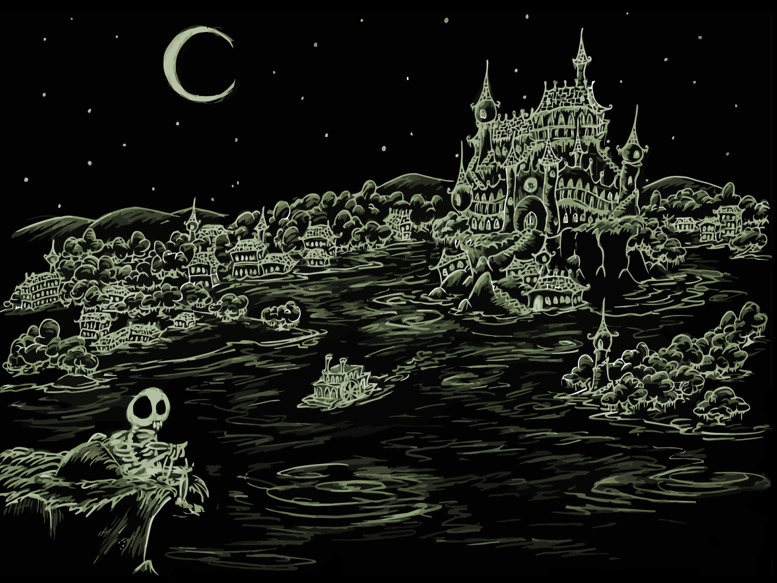 screen background a skeleton