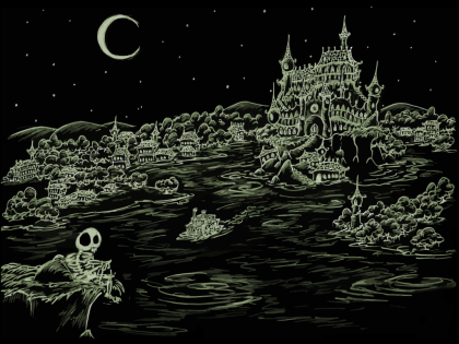 a screen background of a skeleton looking over a haunted town around a haunted bay with a steamboat