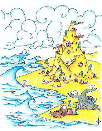 a cartoon drawing of an otter, seals, a fish, crabs, sea slugs, and a dolphin building a sand castle on a beach by the ocean