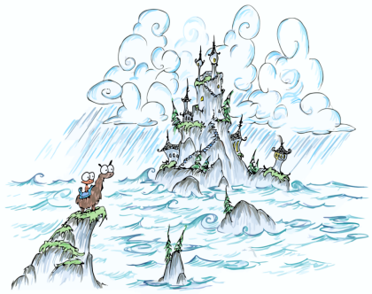 a screen background of a castle on a rocky island with waves