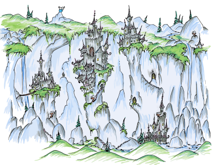 a screen background of monkeys and their castles hanging precariously from cliffs and waterfalls and a blue bison