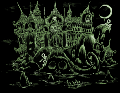 a screen background of a scary haunted castle on a halloween island for an album cover