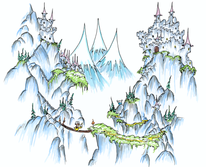a screen background of a monkey riding a llama over a bridge in some giant mountains and a bluebison looking on