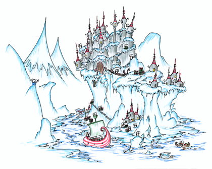 a screen background of an island in the ice with a penguin castle and penguins with christmas presents and a bluebison looking on
