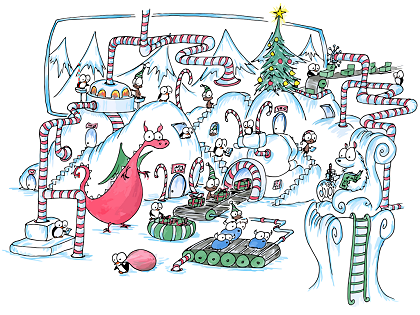 a screen background of a factory where monkey elves and penguins make presents for christmas with the help of christmas dragons, polar bears, and bluebison