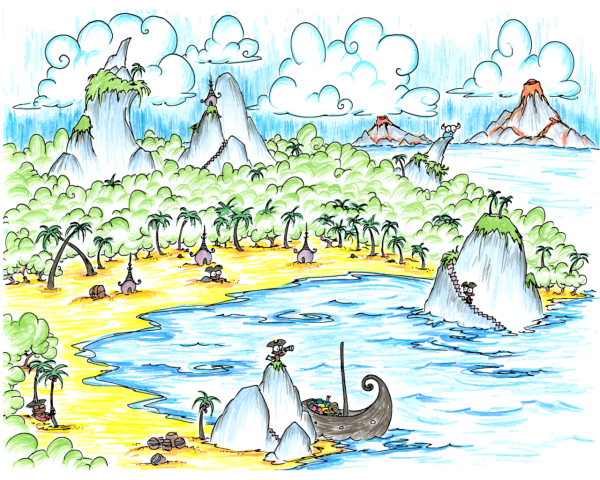 a screen wallpaper of a cove in the sea where monkey pirates are hiding out and volcanic islands are erupting nearby