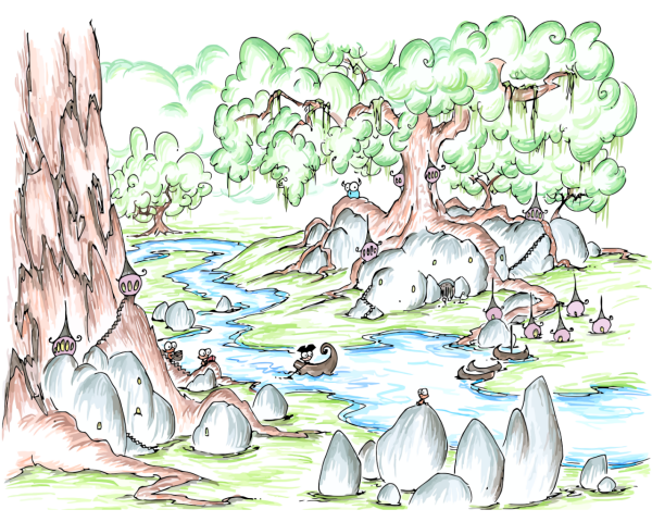 a screen wallpaper of a forest with a strange monkey village and a pirate monkey rowing through it and a bluebison in the background