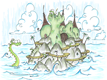 a screen background of a castle full of alligators on an island in the ocean, with an alligator riding a sea monster