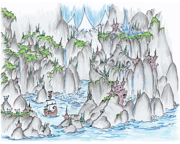 wallpaper of a fjord full of waterfalls, with monkeys sailing in a pirate ship and penguins in castles and bluebison