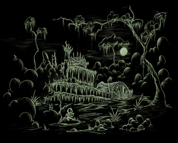screen background of a skeleton sitting and reading a book in front of a decaying steamboat in a swamp at night