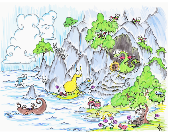 screen background of a dragon with treasure, a sloth, llama, bunnies, monkey, penguins in a boat, dolphin, clouds, waterfalls, and some other stuff too