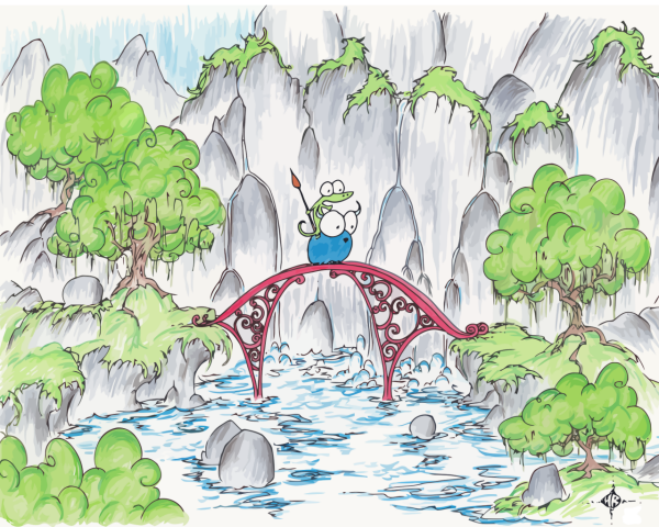 screen background of an alligator riding a blue bison crossing a red bridge over waterfalls