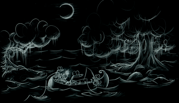 screen background of alligators fishing in an inlet at night under the moon