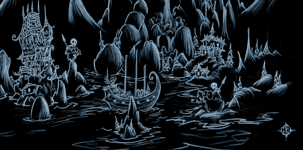 screen background of a halloween scene of pirate monkeys sailing into a haunted cove with skeletons and woolly mammoths