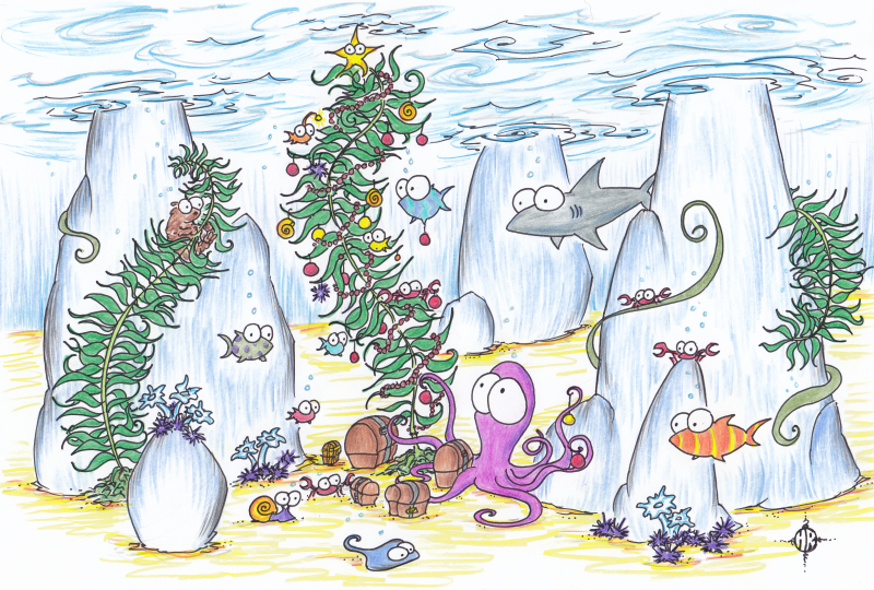 screen background of a christmas tree made of kelp, with octopus, fish, otter, shark, crabs, and other assorted underwater creatures