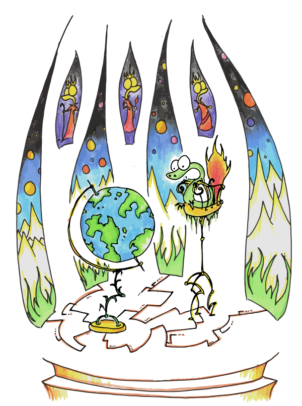 a cartoon drawing of an alligator looking at a globe with stained glass windows behind him