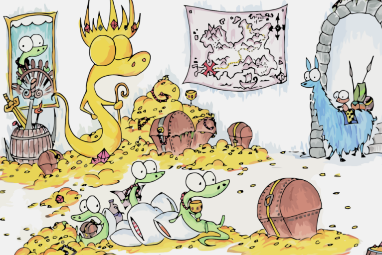 screen background of a monkey riding a llama and finding a group of alligators in a pile of gold and treasure with a statue and a treasure map
