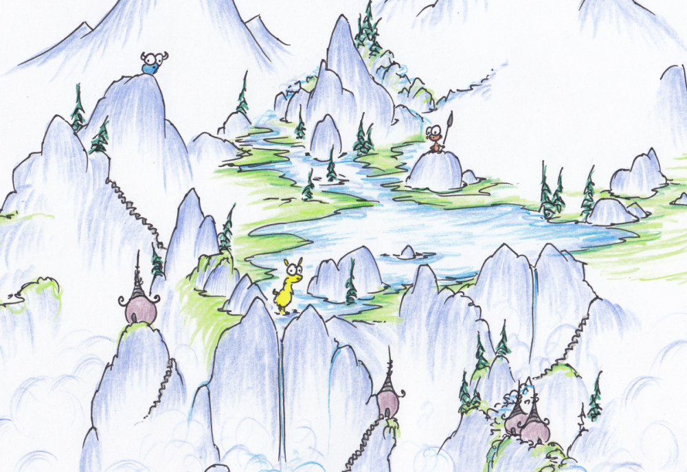 screen background illustration of a lake in the mountains with a yellow llama and a monkey and a blue bison