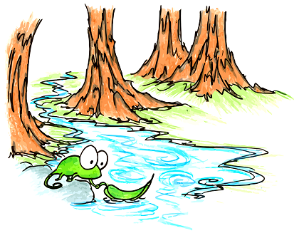 a cartoon drawing of a chameleon using a leaf as a boat in a creek