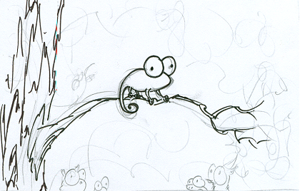 a cartoon sketch of a chameleon in a forest